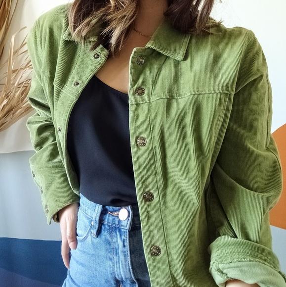 Vintage Jackets & Blazers - Western Inspired Vintage Green Corduroy Jacket